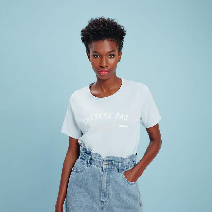 T-shirt manches courtes bleu pastel femme