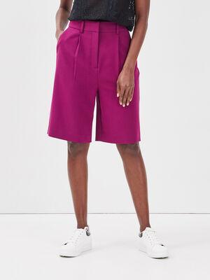 Bermuda city avec pinces violet fonce femme