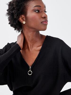 Pull avec col zippe noir femme