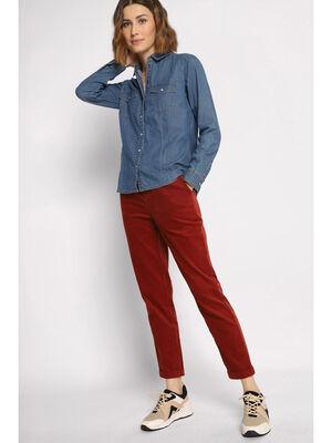 Pantalon chino 78eme velours rouge fonce femme
