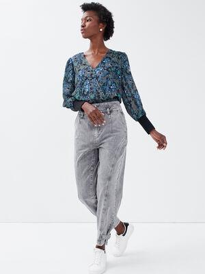 Jeans droit details boucles denim gris femme