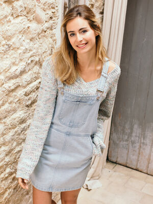 Robe salopette courte en jean denim bleach femme