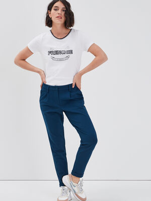 Pantalon cigarette bleu petrole femme