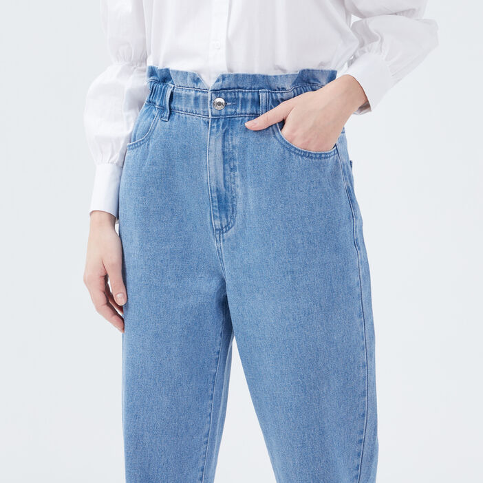 Jeans slouchy élastiqué denim stone femme