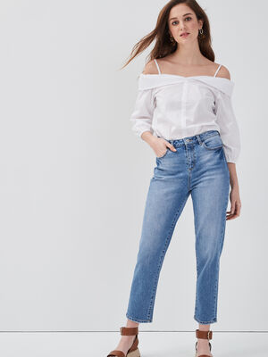 Jeans regular delave denim double stone femme