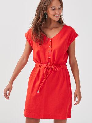 Robe droite taille ceinturee rouge femme