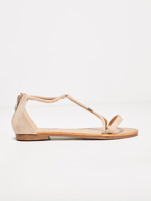 Sandales plates zippees sable femme
