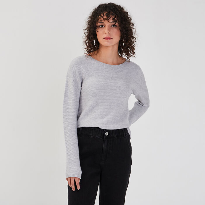 Pull manches longues dos zippé gris clair femme