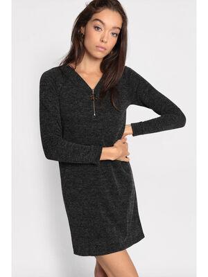 Robe pull droite col zippe noir femme
