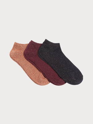 Lot 3 paires chaussettes marron femme