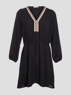 Robe evasee avec bandes noir femme