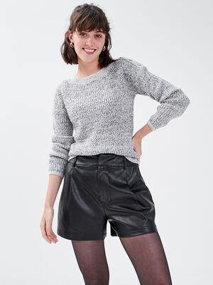 Short large taille haute noir femme