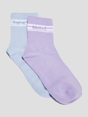 Lot 2 paires chaussettes mauve femme