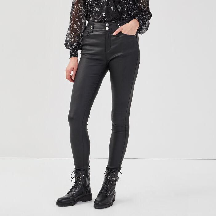 Jeans skinny détails rivets denim noir enduit femme
