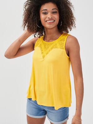 Debardeur bretelles larges jaune citron femme