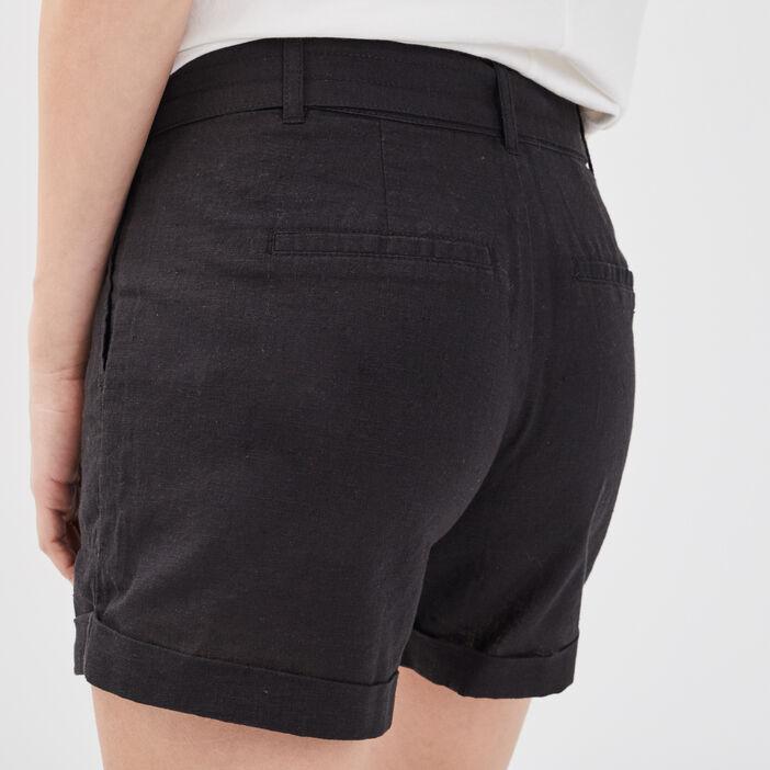 Short ceinturé lin noir femme