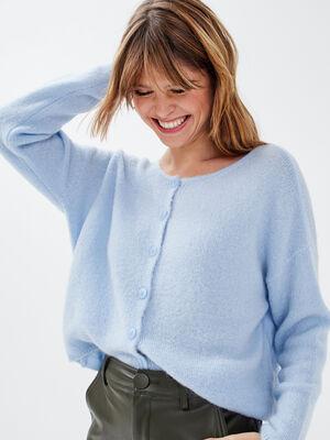 Gilet manches longues boutonne bleu pastel femme