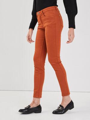 Jeans slim 5 poches orange fonce femme