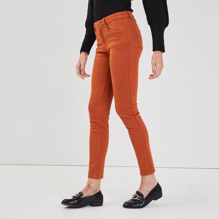 Jeans slim 5 poches orange foncé femme