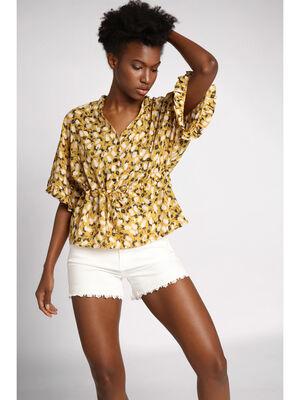 Blouse manches courtes amples jaune femme