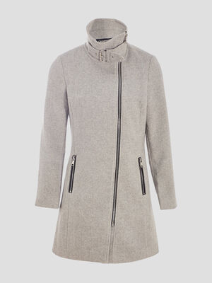 Manteau evase zippe gris clair femme