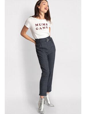 Pantalon paperbag ourlets gris argent femme