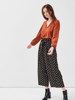 Pantalon large fluide ceinture noir femme