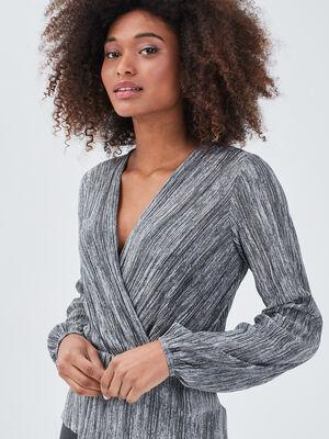 T shirt manches longues plisse gris clair femme