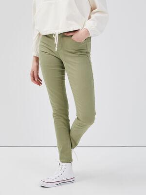 Jeans slim 5 poches vert femme