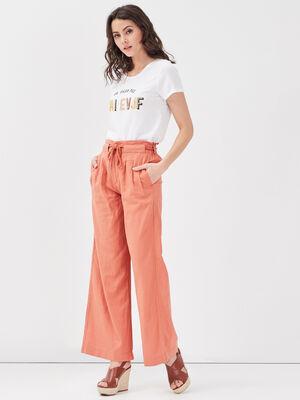 Pantalon fluide lin terracotta femme