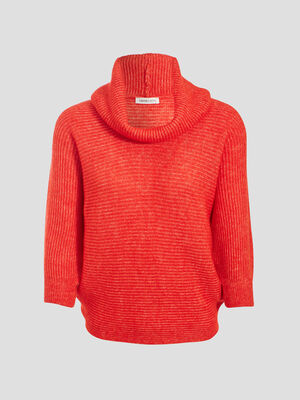 Pull long col chale rouge femme