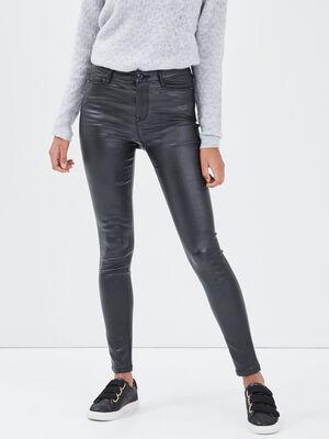 Pantalon skinny denim noir enduit femme