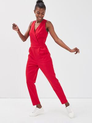 Combinaison pantalon bretelles rouge corail femme