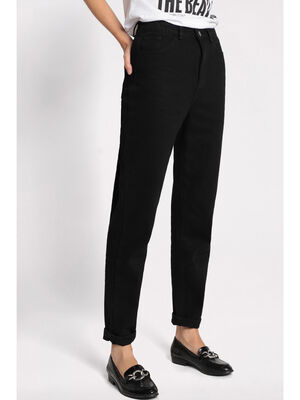 Pantalon mom taille haute noir femme
