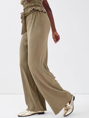 Pantalon ample ceinture gris femme