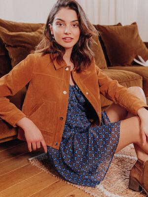 Veste droite effet suedine marron cognac femme