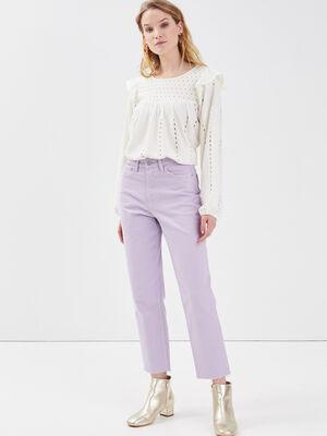 Pantalon droit violet clair femme