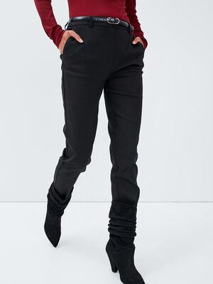 Pantalon cigarette ceinture noir femme