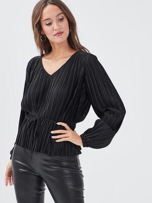 T shirt manches longues plisse noir femme