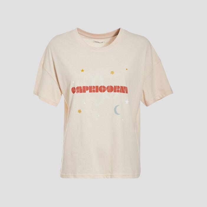 T-shirt manches courtes ivoire femme