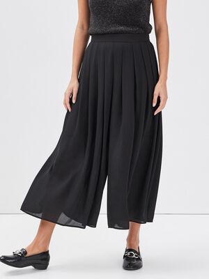 Jupe culotte midi plissee noir femme