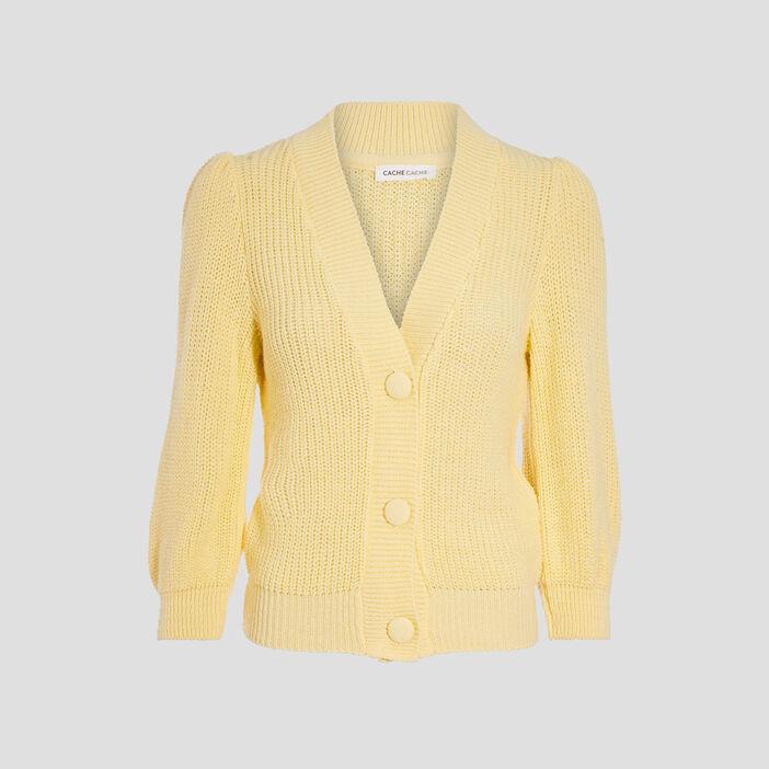 Gilet manches 3/4 boutonné jaune pastel femme