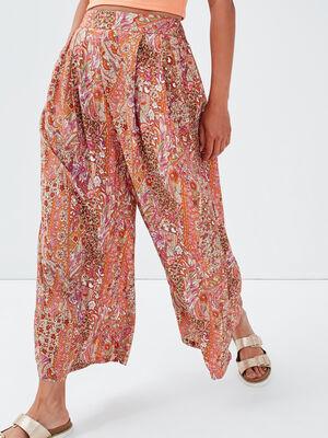 Pantalon ample fluide blanc femme