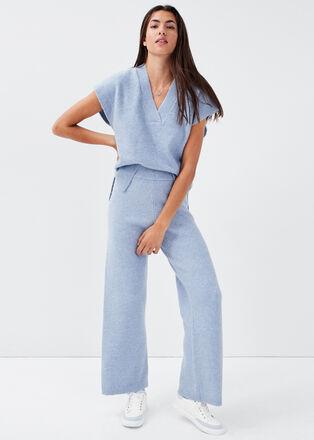 Pantalon large bleu clair femme