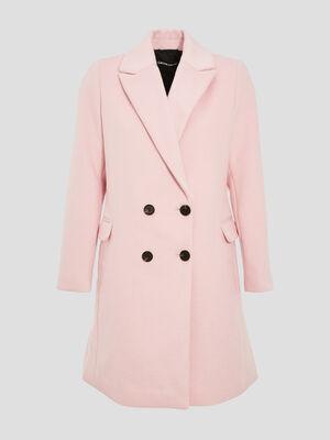 Manteau droit boutonne rose femme