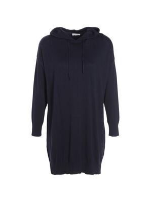 Robe sweat droite a capuche bleu marine femme