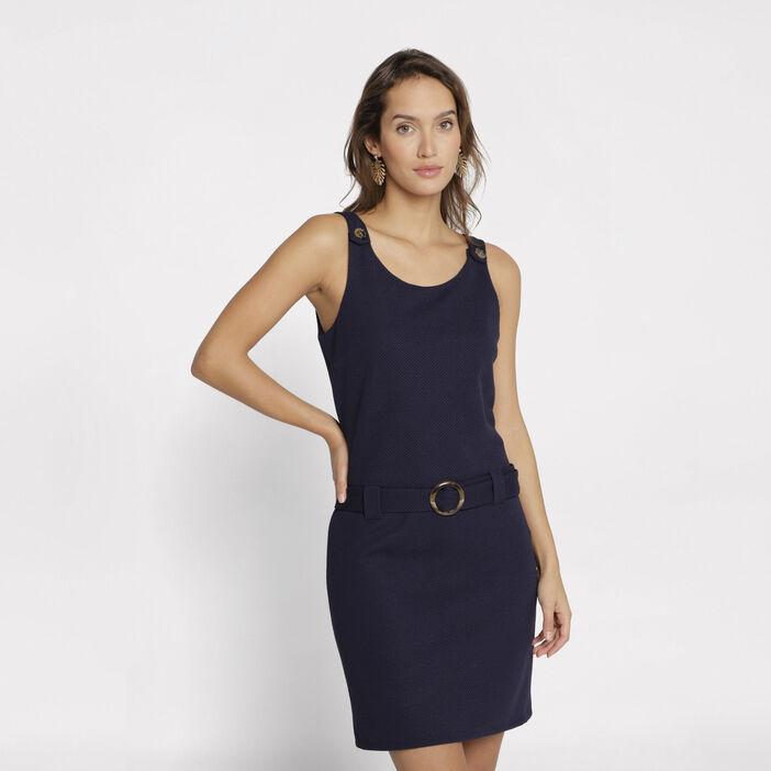 8ab1f53300 ... Robe salopette courte ajustée bleu marine femme ...