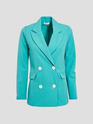 Veste droite double boutonnage vert menthe femme