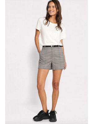 Short ample ceinture fine gris femme