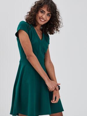 Robe patineuse dos dentelle vert fonce femme